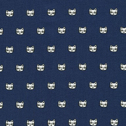 Kaufman Whiskers & Tails Navy Cat Faces Woven