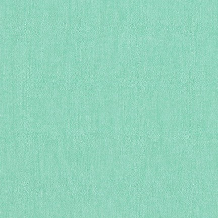 Kaufman Worker Chambray Cotton Blend Green Hue Woven- by the yard