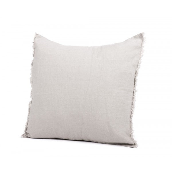 Linen Fringed Cushion - Natural