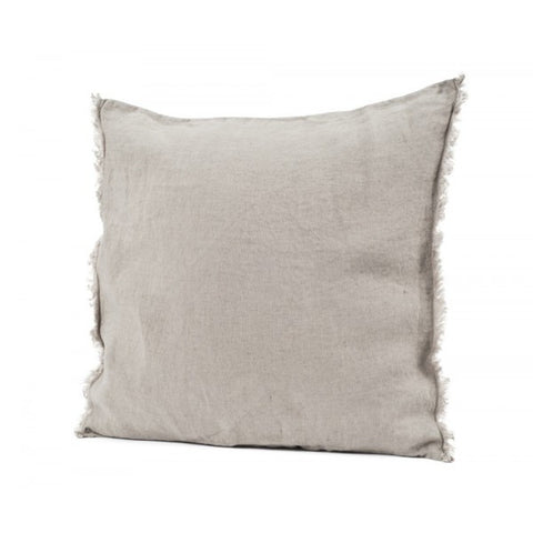 Linen Fringed Cushion - Linen