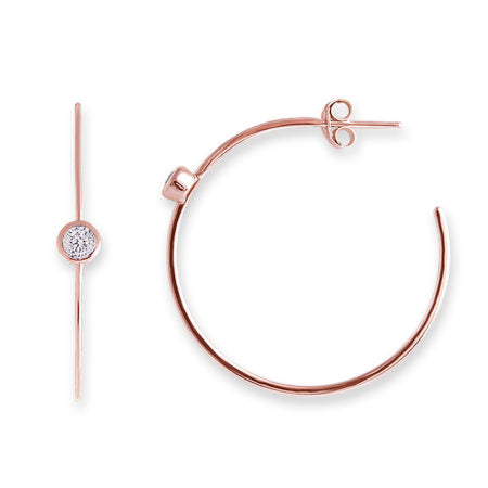 Rose Gold Hoop Earrings with Diamond