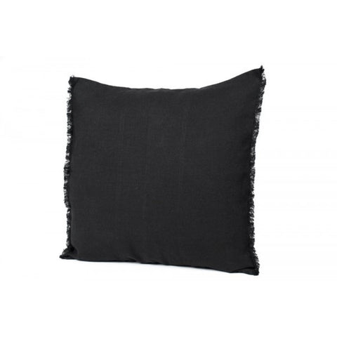 Linen Fringed Cushion - Granite