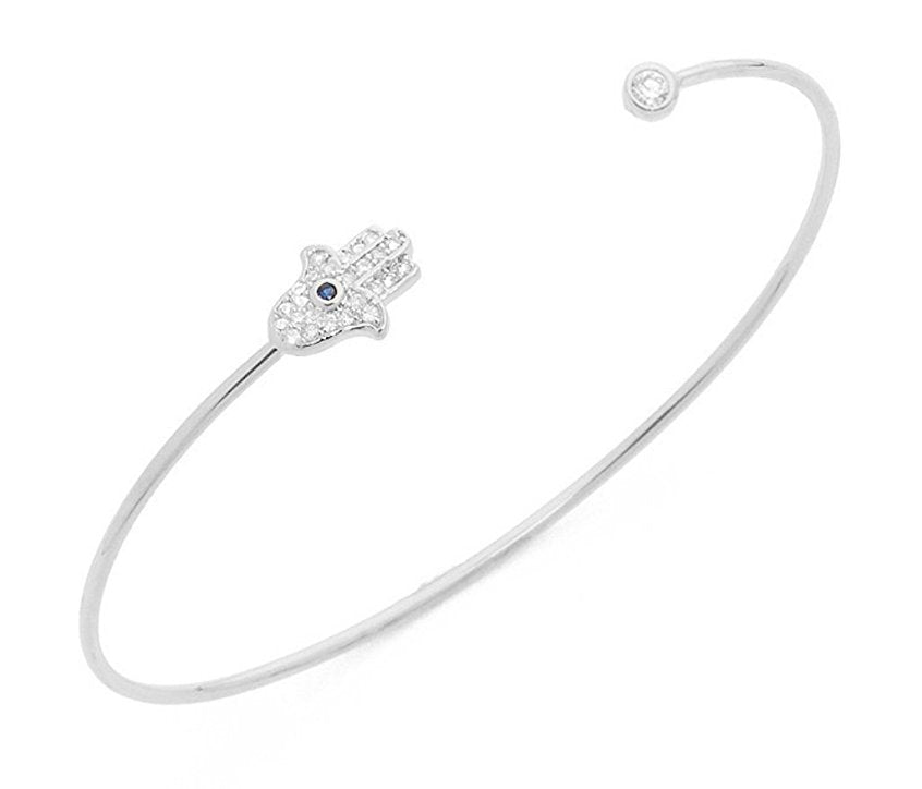 Silver Fine Open Hamsa Bangle