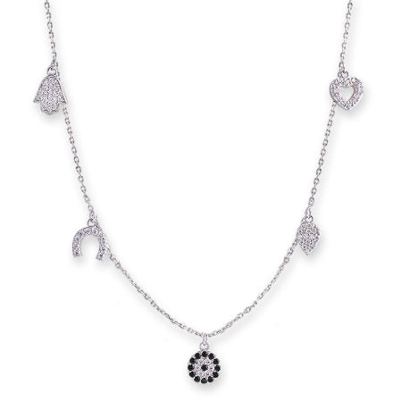 Silver Multi Charm Necklace with Hamsa & Evil Eye