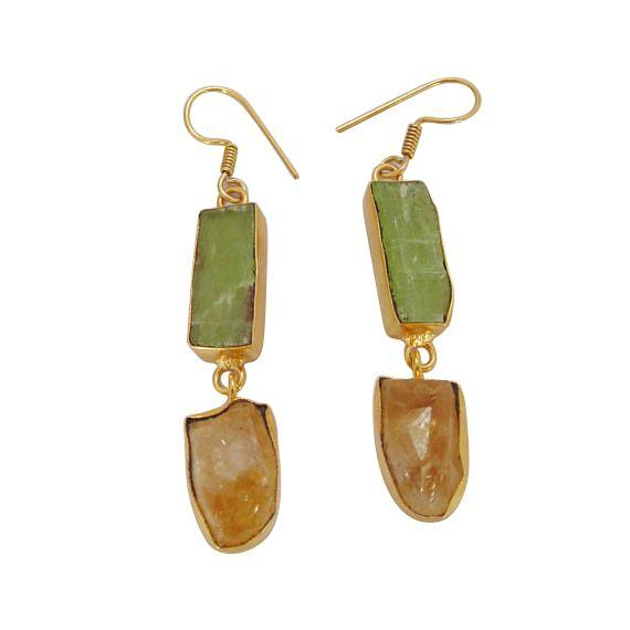 Gold  Semi Precious Drop Earrings
