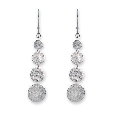 Silver 4 Disc Earrings