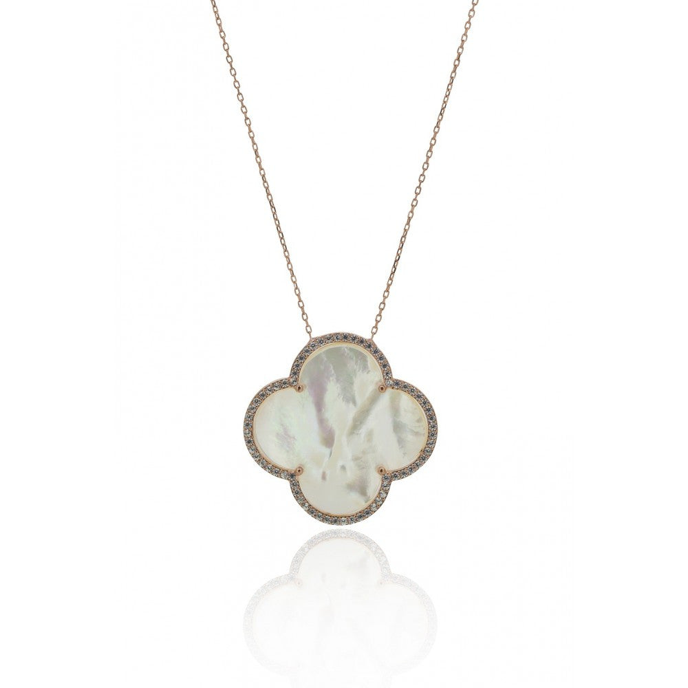 Large Four Leaf Clover with Opal Necklace
