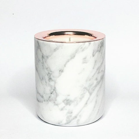 Refillable Carrarra Marble Candle