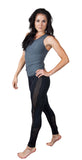Funky Diva grey open woven back tank with mesh legging