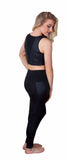 Funky Diva quilted insert legging with quilted v crop top - back view