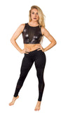 Funky Diva insert legging with v mesh insert crop top