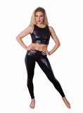 Funky Diva asymmetrical insert legging with v mesh insert crop top - alt view