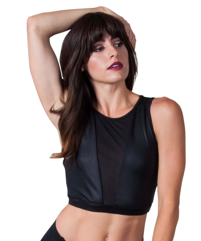 Funky Diva  V Mesh Insert Crop Top with Black Matte Faux Leather