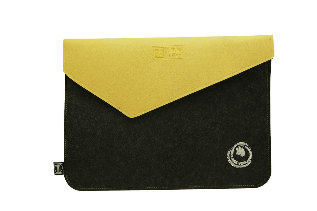 Kowhai Grey & Yellow Ecofelt Laptop Bag