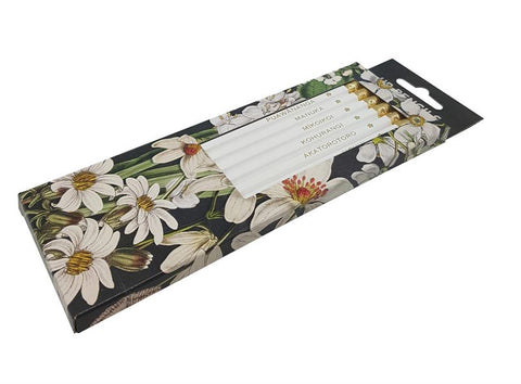 Wolfkamp & Stone - White NZ Flowers 6 Pkt - Pencils