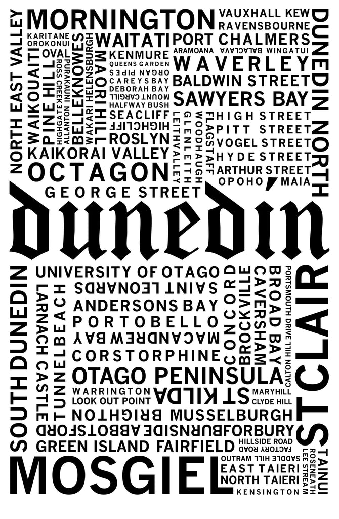 Dunedin Suburbs and Streets Print - Design Withdrawals - Design Withdrawals