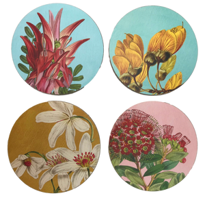 Vintage NZ botanical Coasters - 4 pack