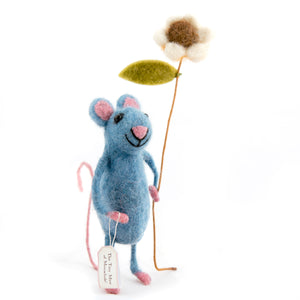 Pretty Blue Mouse with Flower