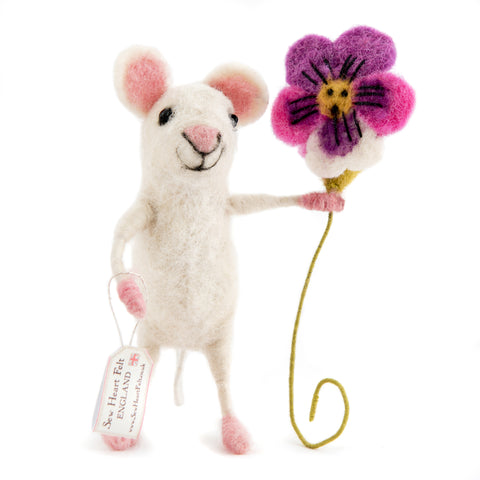 Felt Mouse with Pansy
