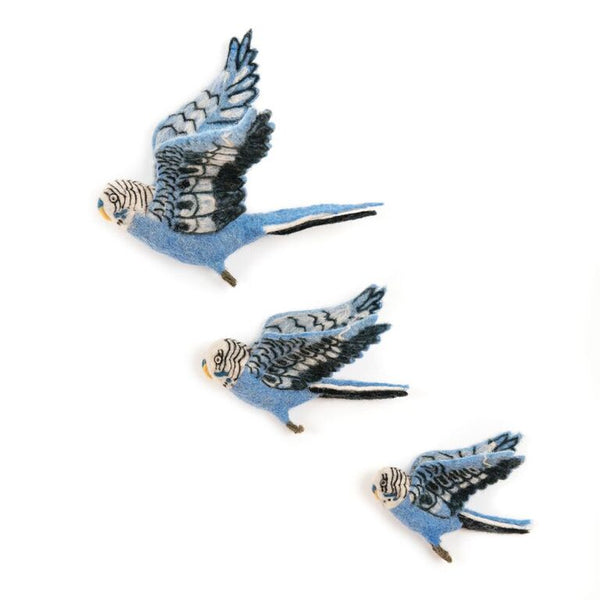 Flying Blue Budgie Wall Trio - Design Withdrawals - Design Withdrawals