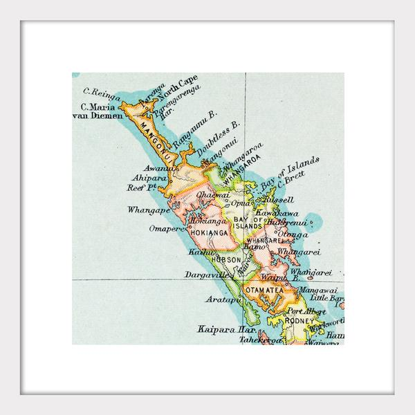 Northland New Zealand Map.Northland Vintage Map Print