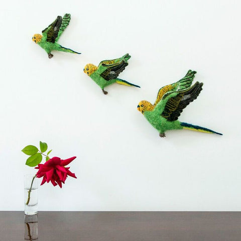 Flying Budgie green Wall Trio - Design Withdrawals - Design Withdrawals