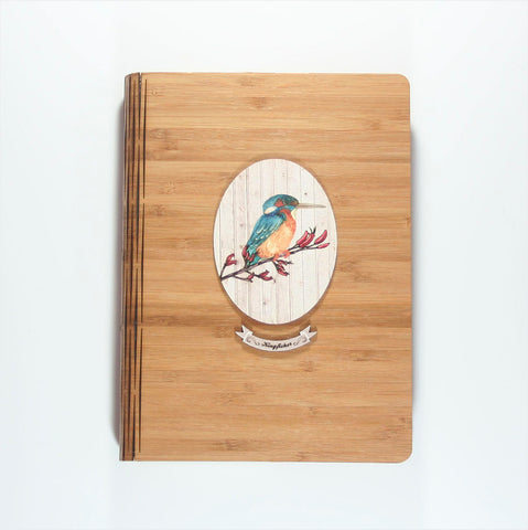Bamboo Journal - Printed Light Wood Kingfisher