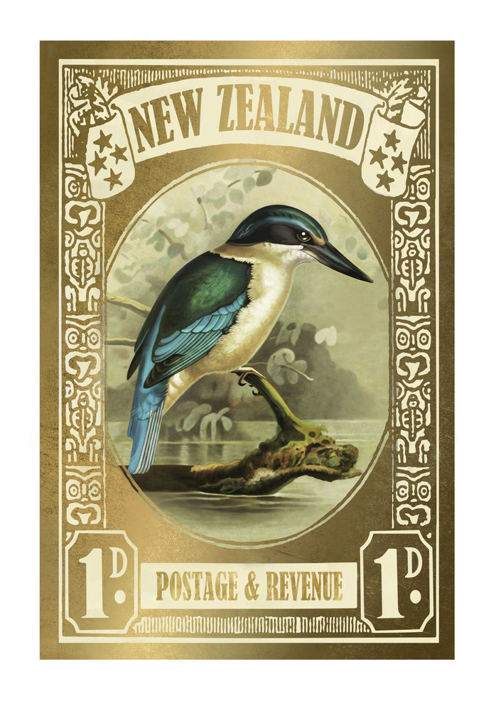 Gold Kingfisher Stamp Print