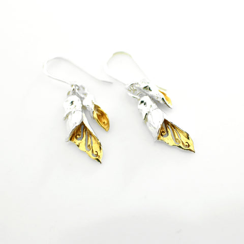 Kowhai Flower and Bud Earrings