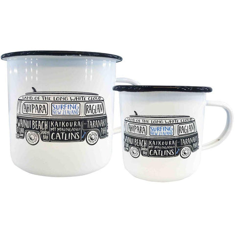 NZ Surfing Enamel Mugs - White