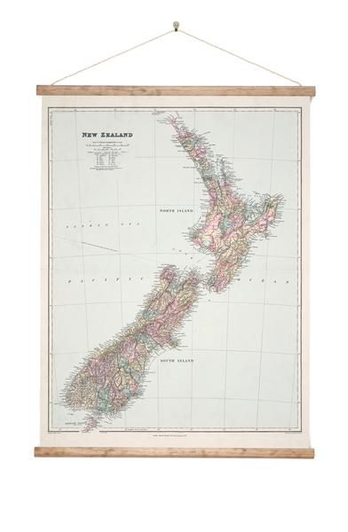 Map of New Zealand - Wall Chart - Design Withdrawals - Design Withdrawals