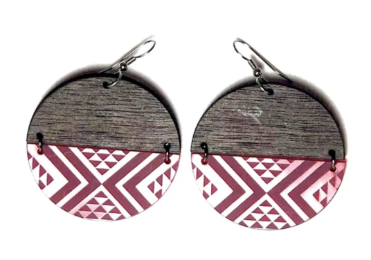 Large Split Red PVC and Wood Earrings
