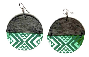 Large Split Green PVC and Wood Earrings