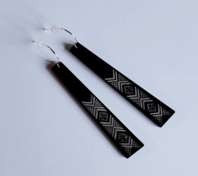 Taniko Long Earrings - Black