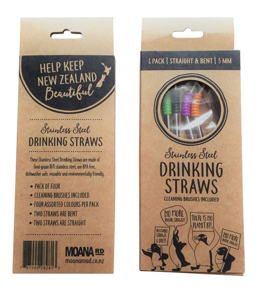 Reusable Metal Straws - 4 pk 2 cleaners