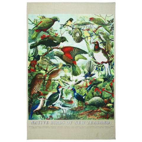 New Zealand Native Birds Tea Towel - Design Withdrawals - Design Withdrawals