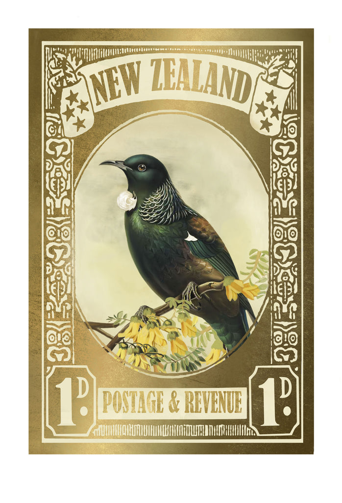 Gold Tui Stamp Print