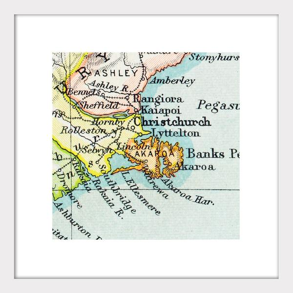 Christchurch - Vintage Map Print - Design Withdrawals - Design Withdrawals