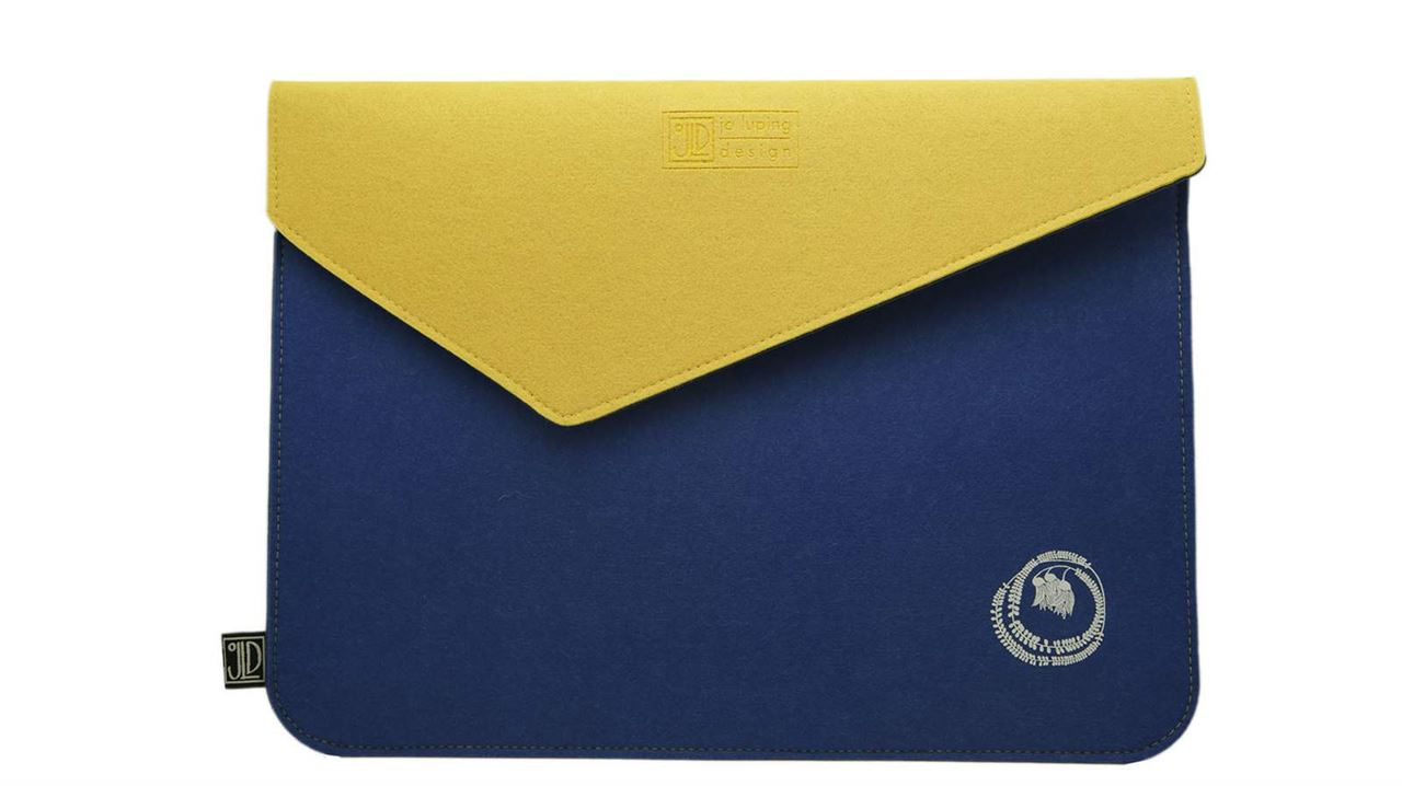 Kowhai Blue & Yellow Ecofelt Laptop Bag