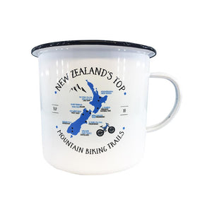 Mountain Biking Enamel Mug - White