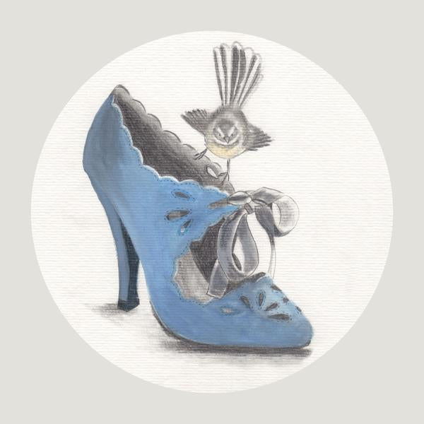 Fantail On A Blue Shoe - Art Print - Melissa Sharplin - Design Withdrawals