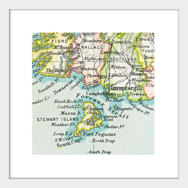 Stewart Island - Vintage Map Print - Design Withdrawals - Design Withdrawals