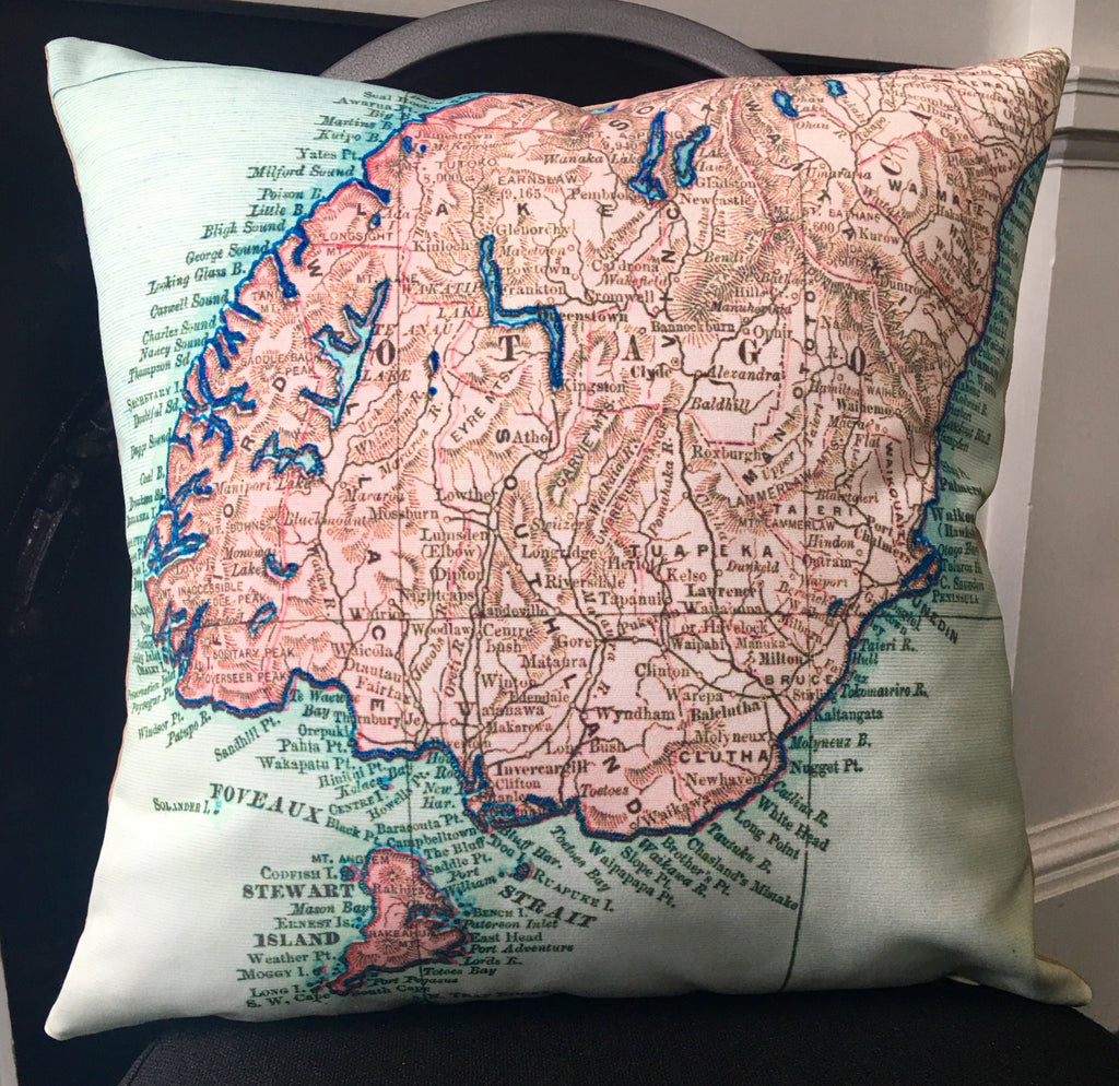 Vintage Map of Lower South Island Cushion - Design Withdrawals - Design Withdrawals