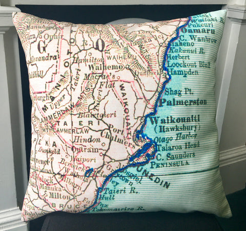 Vintage Map of Dunedin & East Otago Cushion