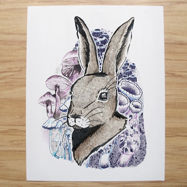 Rabbit & Mushrooms - Art Print - Dust & Dandelions - Design Withdrawals