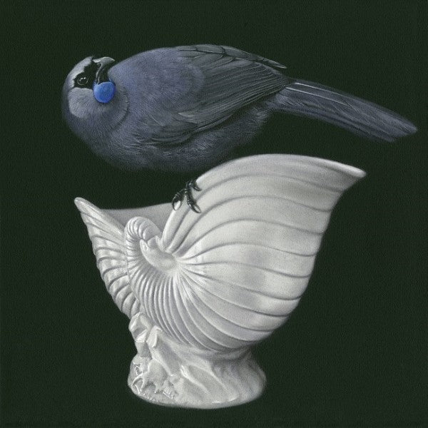 Kokako On Crown Lynn - Jane Crisp - Art Print + Matting - Jane Crisp - Design Withdrawals