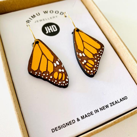 Monarch Butterfly Rimu Earrings