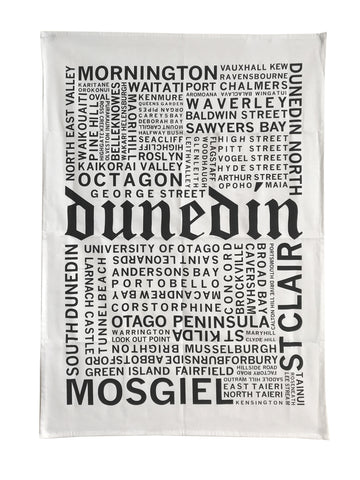 Dunedin Suburbs Tea Towel