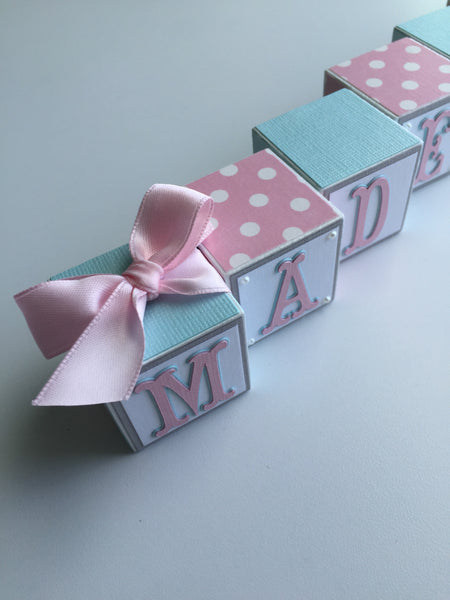 Baby Name Blocks - Pink Gray Turquoise