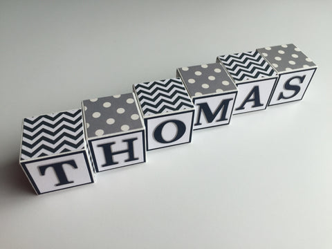 Baby Name Blocks - Navy Gray